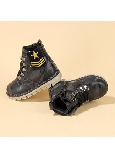 Kiko Kids Kiko TWG 6800 Kışlık Termal Kürklü Erkek Çocuk Kamuflaj Bot Ayakkabı Siyah